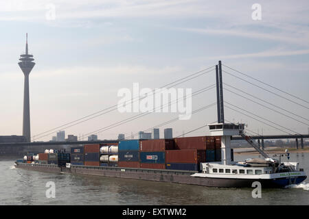 Container barge, river Rhine, Dusseldorf, Germany. - Stock Image