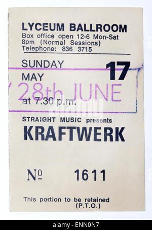 1980's Kraftwerk Concert Ticket - Lyceum London - Stock Image