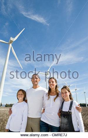 Family at wind farm - Stock Image