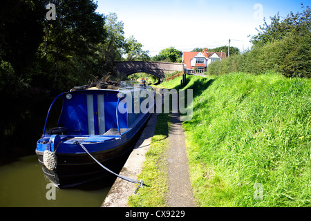 Narrowboat on the Grand Union Canal at Catherine-de-Barnes Warwickshire, England, UK, British, inland, waterways, - Stock Image