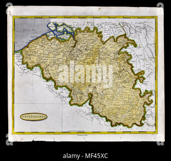 1804 Arrowsmith Map - Belgium - Brussels Gent Luxembourg Europe - Stock Image