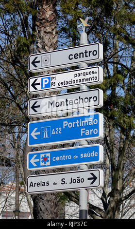 Destination Driving Direction Signs In The Centre Of Albufeira The Algarve Portugal - Stock Image