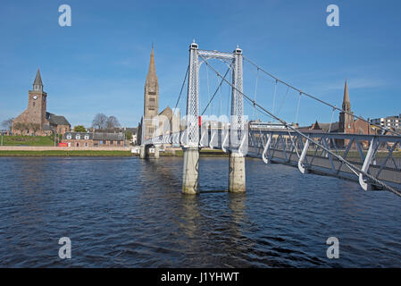 Greig St  suspension footbridge Bridge crossing of the River Ness in the Highland Capital of Inverness. - Stock Image