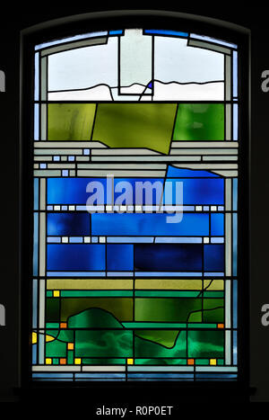 'Pentecost I', South aisle window by Brian Clarke. Christ Church, Thornton-le-Fylde, Lancashire, England, United Kingdom, Europe. - Stock Image