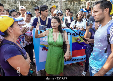 Cartagena Colombia Old Walled City Center centre Centro Hispanic resident residents man woman protesters demonstration Venezuelan exiles supporting in - Stock Image