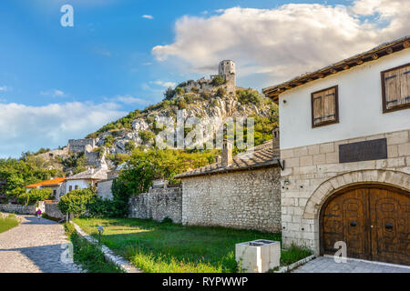 The ancient Kula, a medieval fortress and tower in the walled village of Pocitelj in Bosnia and Herzegovina - Stock Image