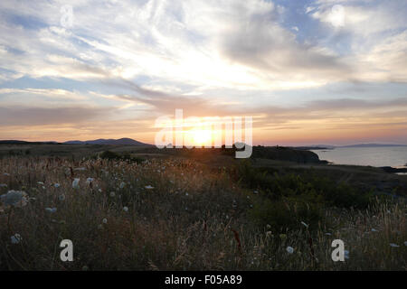 Beautiful sunset over the beach. - Stock Image