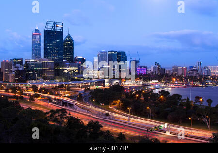 The City of Perth at Dusk, Australia - Stock Image