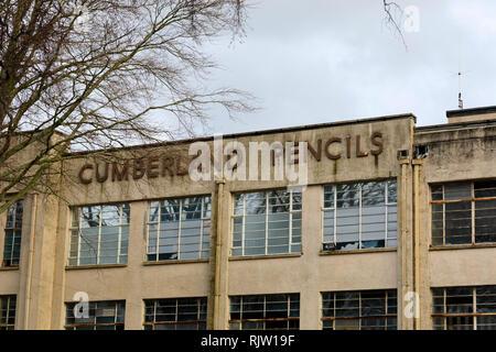The old Cumberland Pencils factory, Keswick, Lake District, Cumbria, England - Stock Image
