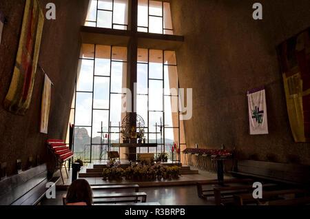 Interior of the Chapel of the Holy Cross near Sedona, Arizona. - Stock Image