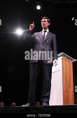 Rory Stewart at the launch of his campaign to become leader of the Conservative and Unionist Party and Prime Minister at the Underbelly Festival on the south bank of the River Thames, central London. - Stock Image