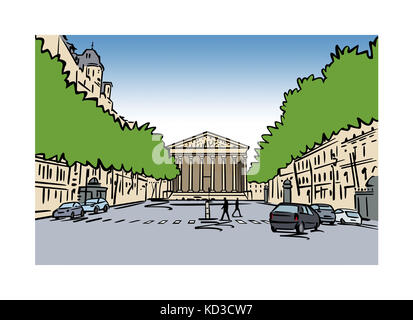 Illustration of La Madeleine, Paris, France - Stock Image