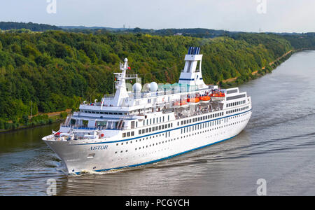 Albersdorf, Germany, July 30, 2018, Cruising ship 'Astor' crossing the North Sea Baltic Canal, in german language Nord - Ostsee Kanal - Stock Image