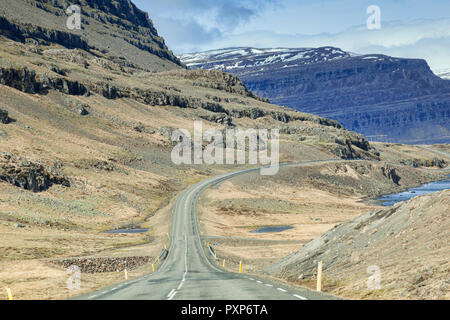28 April 2018: South Iceland - Through the windscreen shot of the Iceland Ring Road in South Island, driving through mountain scenery. Probably best a - Stock Image