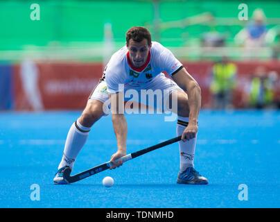 Krefeld, Germany, June 16 2019, hockey, men, FIH Pro League, Germany vs. Australia:  Timour Oruz (Germany) controls the ball. - Stock Image