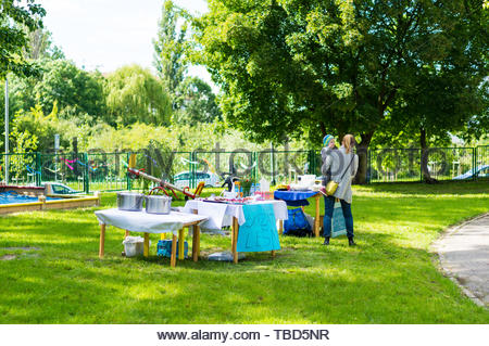 Poznan, Poland - May 29, 2019: Woman with child - Stock Image