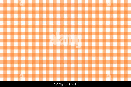 Gingham-like table cloth with pumpkin orange and white checks. Symmetrical overlapping stripes in a single solid color against white background - Stock Image
