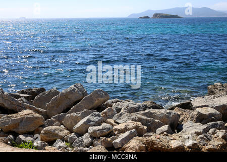 Beautiful sea view from the Island of Ibiza, Spain, Europe. Blue sky, sunlight, gorgeous turquoise sea - Stock Image