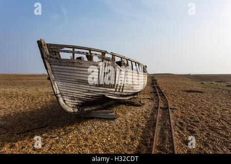 Abandoned Fishing Boat at Dungeness, Romney Marsh, England, United Kingdom - Stock Image