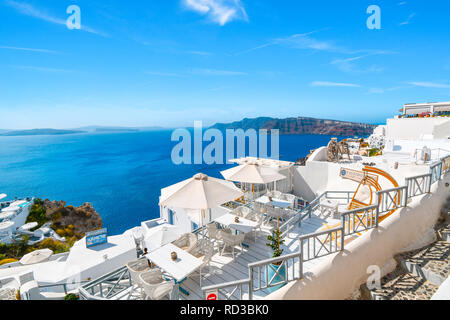 View of the Aegean Sea and Santorini caldera from a hillside overlook in Oia, Greece. - Stock Image