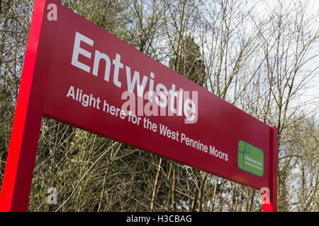 Sign on the platform of Entwistle railway station, Edgworth Lancashire. This rural station serves a hamlet  and - Stock Image
