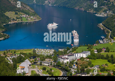 View of beautiful Geiranger, Norway. - Stock Image