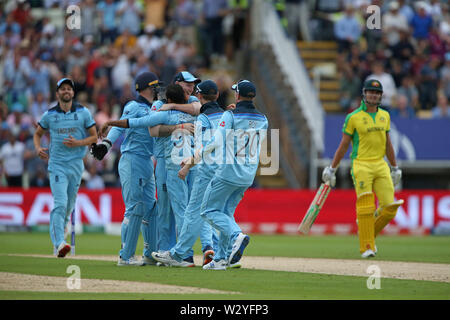 Birmingham, UK. Birmingham, UK. 11th July 2019; Edgbaston, Midlands, England; ICC World Cup Cricket semi-final England versus Australia; England celebrate the wicket of Marcus Stoinis as he is trapped lbw from the bowling of Adil Rashid for 0 runs Credit: Action Plus Sports Images/Alamy Live News - Stock Image