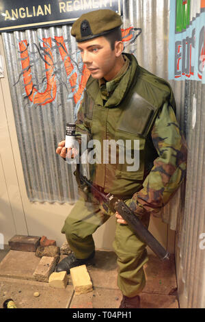 Soldier from the Anglian Regiment, Essex Regiment Museum, Oaklands House, Chelmsford, Essex, UK - Stock Image