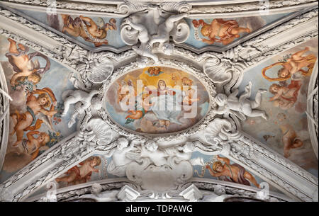 COMO, ITALY - MAY 10, 2015: The baroque fresco of Assumption of Virgin Mary in side nave of church Chiesa di San Agostino by Morazzone from 16. cent. - Stock Image