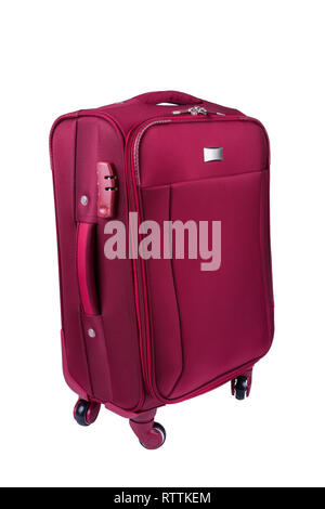 Red fabric suitcase isolated on white background. Travel conception. - Stock Image