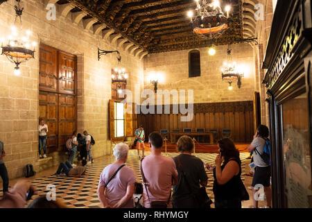 Inside the Consulate of the Sea (Consulado del Mar) Silk Exchange, La Lonja de la Seda, in Valencia Spain - Stock Image