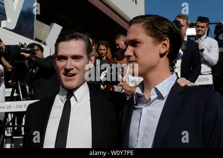 Karlovy Vary, Czech Republic. 28th June, 2019. US actor Billy Crudup, left, and his son arrive to the opening ceremony of the 54th Karlovy Vary International Film Festival begins on June 28, 2019, in Karlovy Vary, Czech Republic. Credit: Katerina Sulova/CTK Photo/Alamy Live News - Stock Image