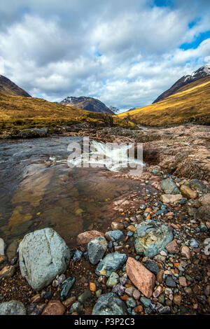 View of the geology of Glen Etive in the Highlands of Scotland - Stock Image