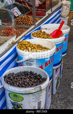 Olives For Sale, Open Air Market, Alanya, Turkey - Stock Image
