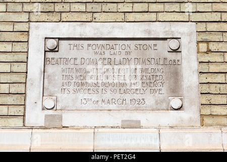 Foundation Stone of The Mission, formerly known as the Empire Memorial Sailors' Hostel, Commercial Road, London, UK. - Stock Image