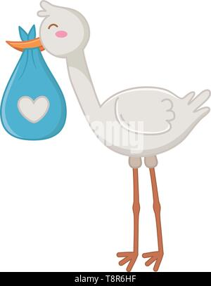 stork carrying a bag with heart icon cartoon vector illustration graphic design - Stock Image