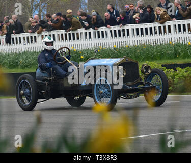 Leslie Murray, De Dion Bouton Curtis OX, S F Edge Trophy, Edwardian Cars, 77th Members Meeting, Goodwood, West Sussex, England, April 2019, Autosport, - Stock Image