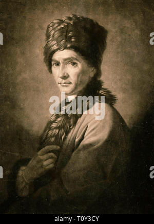 David Martin engraving after Allan Ramsay's portrait of Jean-Jacques Rousseau (1712 - 1778), 1766 - Stock Image