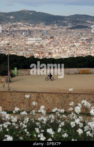 View of Barcelona and Tibidabo from Montjuic, Montjuic, Barcelona, Catalonia, Spain, Europe - Stock Image
