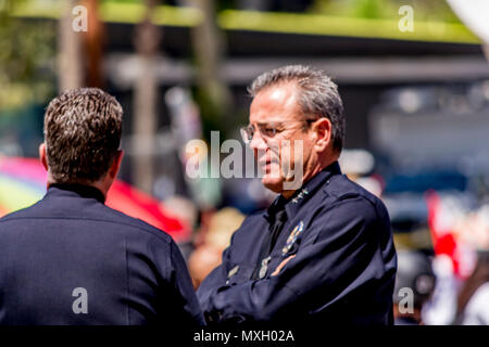 FILE: Los Angeles, California, USA. 4 Jun, 2018. Photo taken: Los Angeles, USA. 1st May 2017. Los Angeles Mayor Eric Garcetti just appointed MIchel Moore the new Chief of the Los Angeles Police Department Credit: Chester Brown/Alamy Live News - Stock Image
