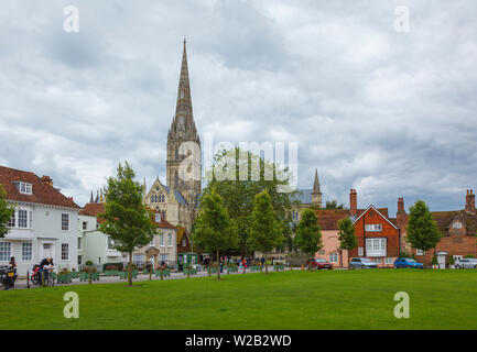 View from Cathedral Close of Salisbury Cathedral, an iconic Gothic masterpiece with the tallest spire, Salisbury, Wiltshire, south-west England, UK - Stock Image