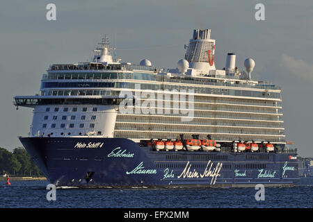 Mein Schiff 4 outbound on the Kiel Fjord - Stock Image