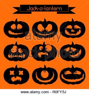Jack-o'-lantern. Set of 9 black decorative elements on the orange background - Stock Image