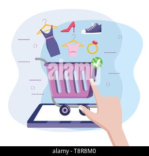 tablet with shopping car online to ecommerce technology vector illustration - Stock Image