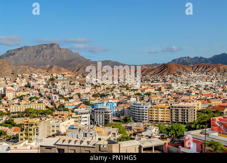 View over Mindelo the main city at Sao Vicente Island at the Cape Verde Archipelago. - Stock Image
