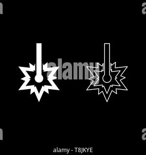 Laser working Laser line spark Welding symbol Engraving concept Laser engraving burst cut icon outline set white color vector illustration flat style - Stock Image