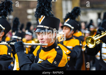 Mountain View High School Spartan Marching Band from California, USA, at London's New Year's Day Parade, UK - Stock Image