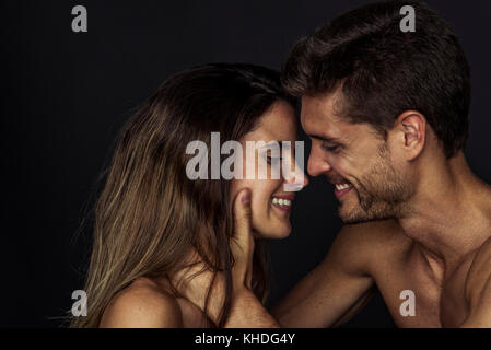 Affectionate couple face to face - Stock Image