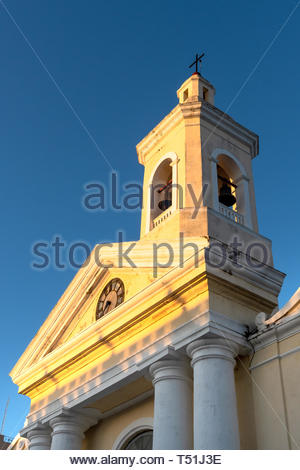 Catholic church located in the city center park. Low angle view of the bell tower in the morning. The famous colonial place is part of the National Mo - Stock Image