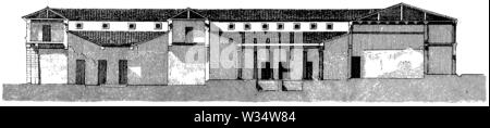 length section of a Roman house, ,  (cultural history book, 1875) - Stock Image
